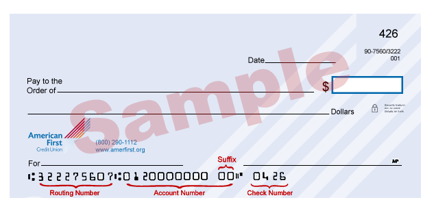 Image of routing number on check